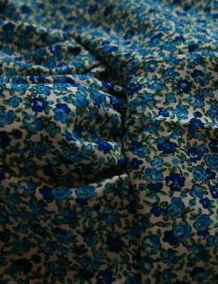 Fronces aux épaules Robe à fleurs bleues