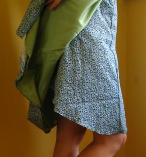 Robe Portefeuille à Fleurs Bleues Retouchée Profil